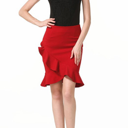 Canada Taille plus femmes jupe irrégulière taille élégante élégante sexy fente élastique élastique à volants sac jupe étape de la hanche 5XL cheap elastic stretch ruffle Offre