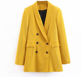 2019 terno de lazer amarelo Mulheres 2019 Double Breasted Longo Blazers Senhora do Escritório Pequeno Terno Casaco de Lazer Das Senhoras Amarelo Blazer Solto Casaco Streetwear terno de lazer amarelo barato