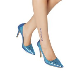 hot sexy see through dresses Coupons - Hot Sale-New Ladies High Heel Pumps PVC+Patent Leather Patchwork Slip-on Shoes Sexy See-through Pointy Large Size Fashion Dress Shoes N067
