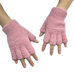 Gants acryliques en Ligne-Hiver chaud Femmes acrylique bras Gants unisexe chaud Fingerless BISCUITS hiver Fingerless demi-doigts Gants de conduite 18Nov