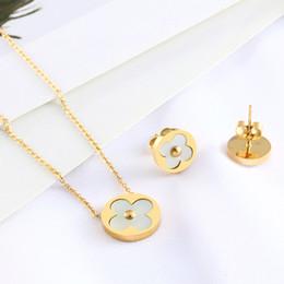 139507976c53 Accesorios de joyería de acero inoxidable conjuntos trébol colgante collar  pendientes de plata para las mujeres brincos oro cadena choker earing