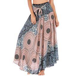 fd2e3ca773 2019 faldas largas hippie Mujeres largo Hippie Bohemio Gypsy Boho flores  falda de cintura elástica Falda