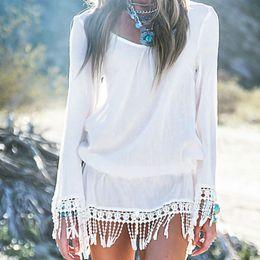 сплошной цвет купальник Скидка Womens Summer Rayon Cotton Loose Swimsuit Dress Solid Color Hollow Out Tassels Trim Bikini Cover Up Long Flare Sleeves Pullover