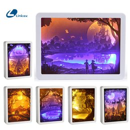3d shadow lights Promo Codes - 3D Stereoscopic Rendering Wall Light Shadow Paper Carved Lights Diy Creative Remote Control Night Lighting Paper carving lamp