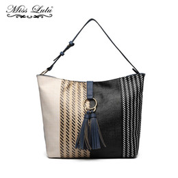 knitted handbags patterns Coupons - Miss Lulu Women Hobo Shoulder Bags Handbags Ladies Navy PU Leather Top-handle Bags Totes Knitted Pattern with Tassel YD6864