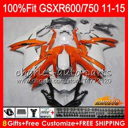 Carcaças de gsxr branco laranja on-line-Injecção Para SUZUKI GSXR 600 750 GSXR750 11 12 13 14 15 16 10HC.5 GSXR-600 K11 GSXR600 2011 2012 2013 2014 2015 2016 Carenagem branca laranja
