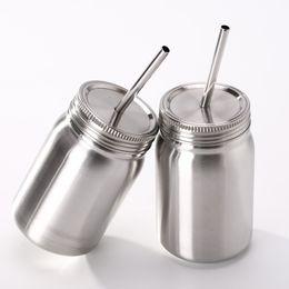 Palhas personalizadas on-line-23OZ jarro de pedreiro de aço inoxidável pedreiro pedreiro latas 1 camada 23 oz copo com tampa palha caneca de suco de cerveja de café pode personalizado