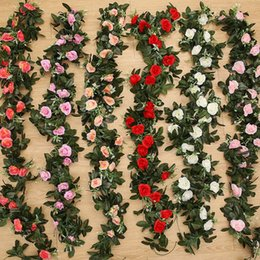 Foglie di seta diy online-2PC 240cm Rose di seta Ivy Vine con foglie verdi per la decorazione domestica di nozze Foglia finta Fai da te Hanging Ghirlanda di fiori artificiali