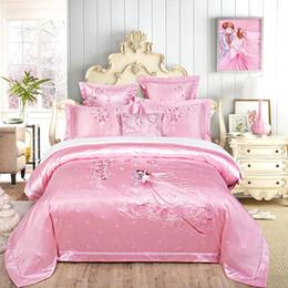 Jacquard chinês cama on-line-Cetim ajustado do fundamento do casamento do bordado do jacquard / rainha do algodão tamanho Decoração clássica do estilo europeu e chinês