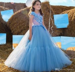 Baby himmel blau brautkleider online-Light Sky Blue Blumenmädchenkleider für Hochzeit rosa Spitze Top Appliques Flügelärmeln Mädchen Pageant Kleider Tüll bodenlangen Baby Geburtstag Kleid