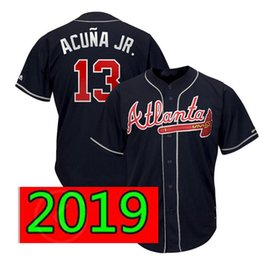 azul escuro basebol jérsei Desconto Atlanta Ronald Acuña Jr. Braves Jersey Vermelho Escuro Azul Majestic Scarlet 2019 Oficial Alternativo Legal Jogador Basebol Jerseys