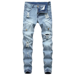 светлый цвет брюки мужчины Скидка Men Biker Jeans Hole Ripped Light Blue Color Bunch Of Foot Slim Fit All Season Casual Style Skinny Pants