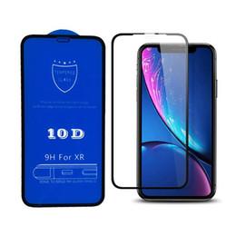 Protector de pantalla de fibra de carbono al por mayor online-Comercio al por mayor 10D Protector de pantalla de cubierta completa 9H Protector de pantalla de fibra de vidrio de vidrio templado para iPhone 6 6s 7 8 Plus X Xr Xs máximo