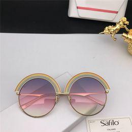 Óculos emoldurados em arco-íris on-line-New Popular designer de Óculos De Sol SF 1064 metal grande Quadro Redondo Rainbow óculos de sobrancelha design criativo eyewear proteção UV400 vêm com caixa