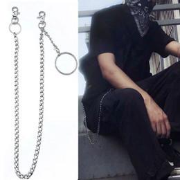 Cinturones de cadena grandes online-3pcs punk rock Monedero gran cadena Pin Círculo llavero de bolsillo de la correa de los pantalones vaqueros cadena DXAA