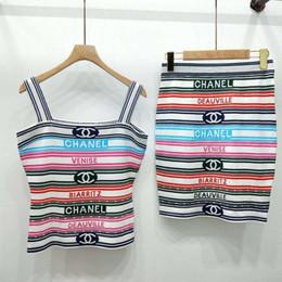Gestreifte strickkleid frauen online-Women Luxury Dresses Iced Striped Jacquard Letter Print Sling Top + Half Skirt Knitted Two Piece Set Designer Suits with Stripe Pattern