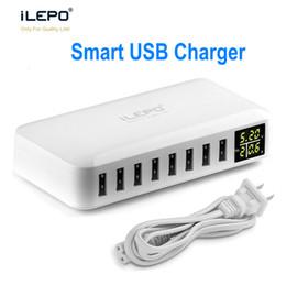 ILEPO 8 Port Carregador USB Inteligente Com Display LCD 8A Saída de Alta Velocidade Adaptador Múltiplo Viajar Carregador Para Android iPhone XS Max de Fornecedores de velocidade lcd