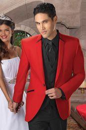Vestiti maschi rossi prom online-Custom Made Red Uomo Abiti Da Sposa Bordo Nero Sposo Handsome Maschio Giacca Smoking Dello Smoking Prom Slim Fit 2 Pezzi