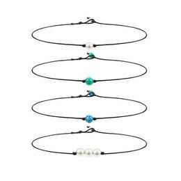 Canada Collier tour de cou à une seule perle 3 collier de perles Tour de cou simple à pierre gemme / turquoise et collier bleu turquoise sur cordon en cuir pour femme fille cheap simple bead necklaces Offre
