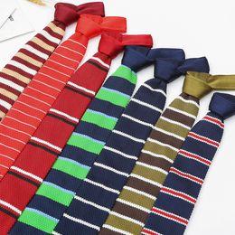 2019 cravate binden Mode-Männer gestrickte Krawatte Men Knit Riegel-dünner Designer Cravate Narrow-dünne Krawatte für Männer Krawatten