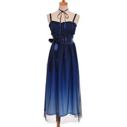 marineblaue hosenträger Rabatt Sweet Fairy Lolita Kleid Sommer Navy Blue Starry Farbverlauf JSK Hosenträger Mesh Cute Dresses