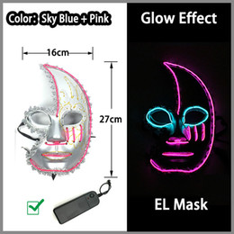 power el wire Promo Codes - Many Style Energy Saving LED Neon Mask 10 Color Optional El Wire Mask Powered By DC-3V Driver for Halloween Toys Decor Free Shipping