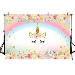 MEHOFOTO Licorne Fête Fleur Anniversaire Bébé Nouveau-Né Photographie Arrière-plans Personnalisé Toile De Fond Photographique Pour Photo Studio ? partir de fabricateur