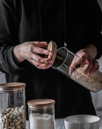 Lagerung von Lebensmitteln Glasflasche Versiegelung Kanister Küche Lebensmittel Schoner Vorratsbehälter Trockenfrüchte Bambusüberzogene Vorratsdosen Hohe Borosilikat von Fabrikanten