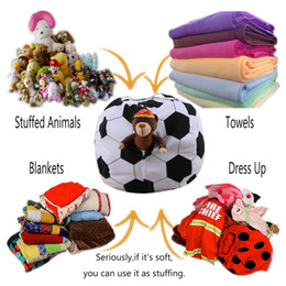 sacs assis Promotion 18 Inch Toys Storage Bag Sitting Chair Bean Bags Football Basketball Baseball Rugby Shape Organizer Stuffed Animal Plush Bean Bags GGA1871