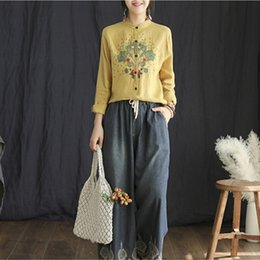 2019 винтажный блуза хлопок New Fashion Female Cotton Linen Button Asymmetrical Blouse Floral Spring Stand Collar Embroidery Vintage Shirts скидка винтажный блуза хлопок