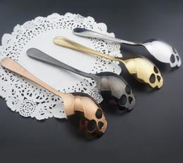 15x3.4cm Crânio Shaped aço inoxidável colheres de sobremesa Sorvete Doces colher de chá de açúcar Mexa colheres de café de Fornecedores de conjuntos de utensílios de cozinha plástica
