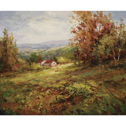 Paesaggio domestico di campagna online-Bellissima pittura ad olio Paesaggi Italian Country Home Quadro dipinto a mano in tela per sala da pranzo