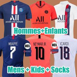 Chemise neymar en Ligne-MAILLOTS DE FOOTBALL PSG JORDAN 19 20 soccer jersey de la psg 2019 2020 maillot de foot Paris saint germain 18 19 NEYMAR MBAPPE ICARDI kit chemise PSG enfant SETS enfants