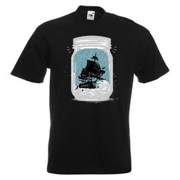 sailing shirts Promo Codes - Trapped Mens PRINTED T-SHIRT Ship Jar Art Boat Bottle Waves Ocean Sail Sailing jersey Print t-shirt