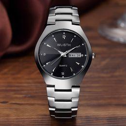 гуанчжоу часы Скидка Wlisth Наручные Часы Черный Вольфрама Стали Водонепроницаемый Стали Принести Любителей Наручные Часы Гуанчжоу Студент Кварц Q356