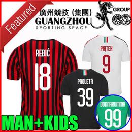 Kit de futebol ac milan on-line-19 20 camisas de futebol AC Milan em casa distância terceiros 2019 2020 Paquetá Rebic Suso Piatek André Silva GOLEIRO THEO homens crianças kit camisas de futebol