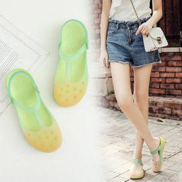 2019 sandálias de verão bonitas da mulher Mulheres de verão quente mulas tamancos praia respirável gradiente cor chinelos sandálias da mulher geléia sapatos bonitos sapatos de jardim desconto sandálias de verão bonitas da mulher