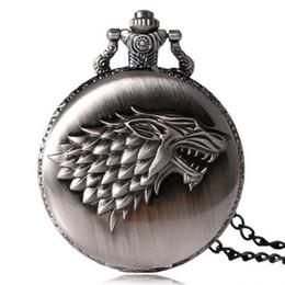 neue weiße gold taschenuhr Rabatt Game of Thrones Strak Haus Wolf-Taschen-Uhr-Halskette mit Anhänger Fashion Schmuck für Männer-Frauen-Geschenk