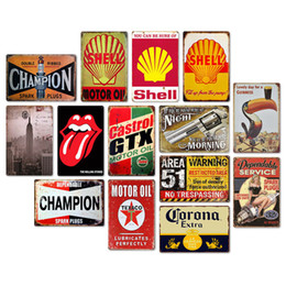 2019 rocce decorative all'ingrosso Champion Motor Oil Retro Tustic metal targhe in metallo Wall Art Vintage Tin Poster Cafe Shop Bar Home Decor Metallo Pittura pittura frameless