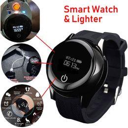 Isqueiros inteligentes on-line-Chegada nova Multi-função de Relógio Inteligente Pulseira Recarregável Isqueiro Chamada Lembrete USB Relógio Bluetooth Homens Relógio Mais Leve