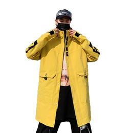 casaco trincheira amarelo Desconto Mens Longos Casaco Com Capuz Trench Coat Primavera Casaco Blusão Ocasional Dos Homens Casuais Hip Hop Streetwear Outerwear Moda Masculina Amarelo