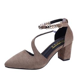 bdba5bd7 Zapatos de vestir de diseñador Sagace Damas de las mujeres del dedo del pie  acentuado Cuadrado talón Beads Buckle Casual Single moda linda nueva mujer  ...