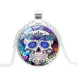 dead pendant Coupons - Classic Mexican Sugar Skull Necklaces For women men Flower Skeleton Glass Cabochon Pendant chains Day Of The Dead holiday Jewelry