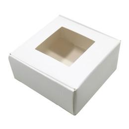 Ящики для мыловарения онлайн-Белые подарки крафт-бумаги коробки пакет с ясно окно площади складная ювелирных изделий ремесло мыло ящик для хранения для рождественской вечеринки