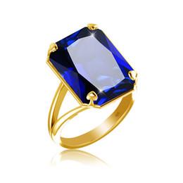 anéis de rocha escalando Desconto Szjinao moda Novo produto Anel de ouro para As Mulheres Quadrado Azul Birthstone Big safira Atacado prata 925 jóias
