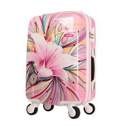 Девушки чемодан багажа онлайн-Женщины печати тележки багажа девушки розовый цветок лилии шаблон путешествия чемодан ABS + PC универсальные колеса Hardside багажа