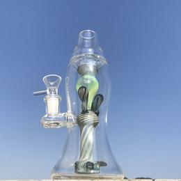 Lampade a tubo online-Lampada di lava verde Bong in vetro Bong Bong 5mm di spessore Olio Dab Rigs Tubi di acqua con ciotola Bum in vetro a colori Heady XL-LX3
