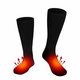 Calzini riscaldati a 3V in cotone termico Portapile a pile Stivali invernali da motociclista Calzini elettrici Uomo Donna Unisex da