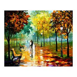 """pinturas a óleo de cisnes Desconto 24 """"x36"""" caminho da floresta sala de estar sofá branco vidoeiro fundo decoração da parede pintura pintura europeia pintados à mão pintura a óleo da lona"""