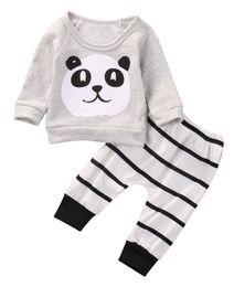 niedliche kleidung für neugeborenes baby Rabatt 2 Stücke Nette Neugeborene Baby Mädchen Panda Langarm T-shirt Gestreiften Hosen Outfit Kleidung Set